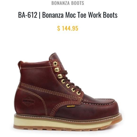 23172b359a4 Bonanza Moc Toe Work Boots Burgundy size 12 NWT